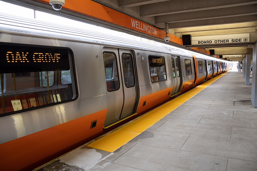 A new Orange Line train headed toward Oak Grove