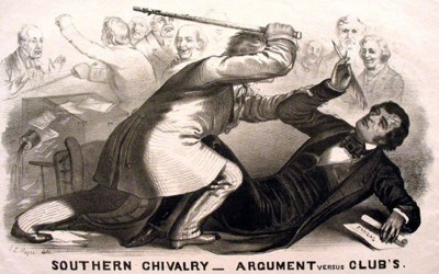 A lithograph of Preston Brooks beating Charles Sumner with a cane
