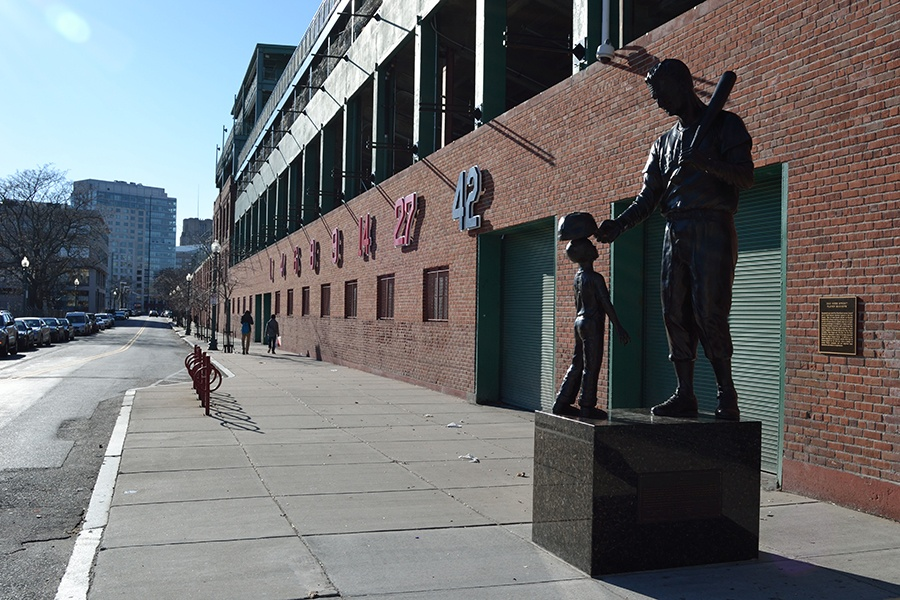 The Ted Williams Statue outside Fenway Park