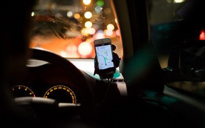 A smart phone with the Uber app open