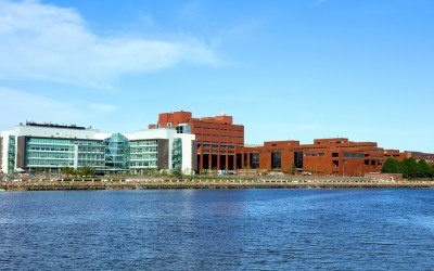 Boston, Massachusetts, USA - May 21, 2017: Daytime view of the University of Massachusetts Boston campus along the Boston Harborwalk