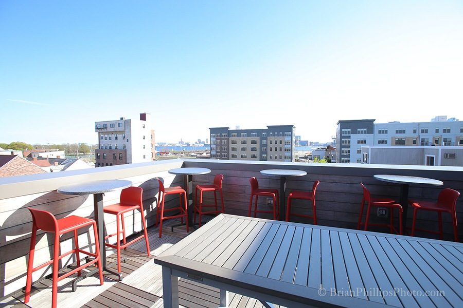 Cunard Tavern has a roof deck with East Boston waterfrton views