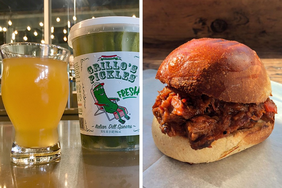 Down the Road Beer Co. used Grillo's Pickles juice in a new sour beer. Plus, Union Square Donuts brings its brisket sandwiches to the taproom on Saturday