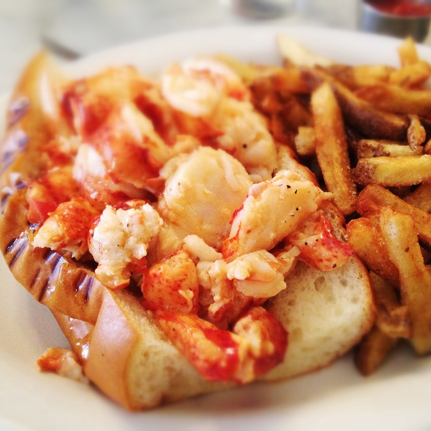 The overflowing lobster roll at Neptune Oyster