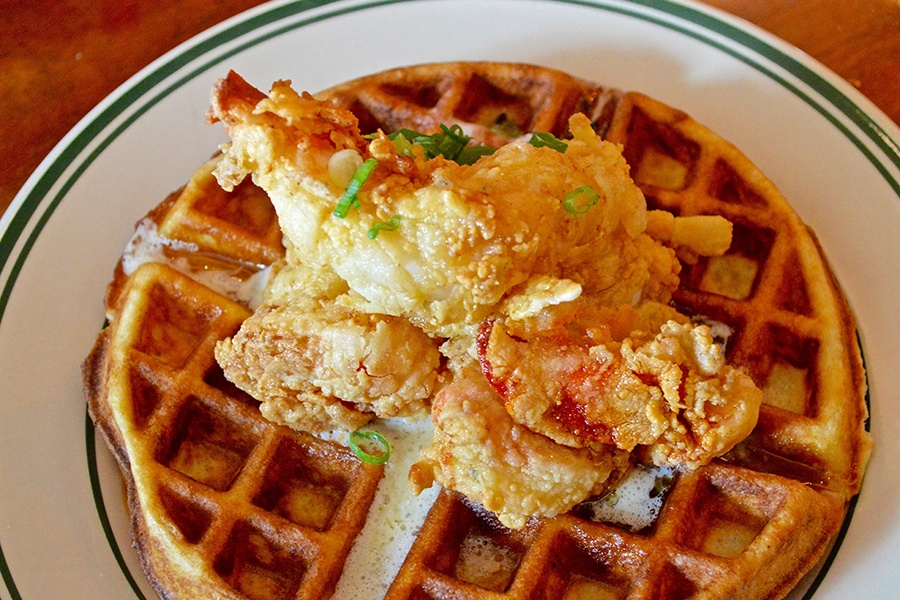 Lobster and waffles at Salti Girl