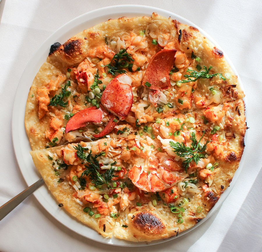 Lobster pizza at Scampo
