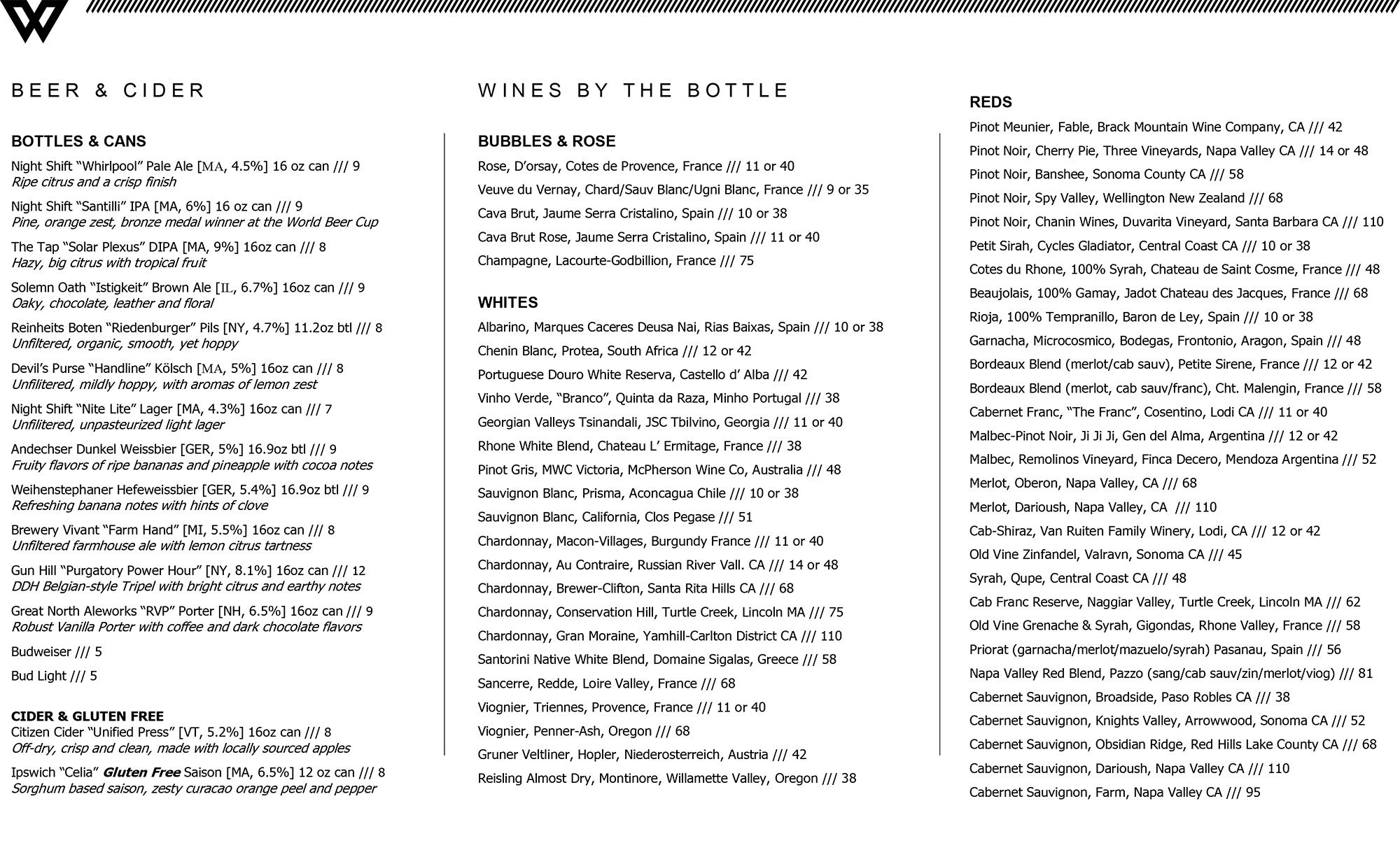 The Wellington bottled beer and cider list
