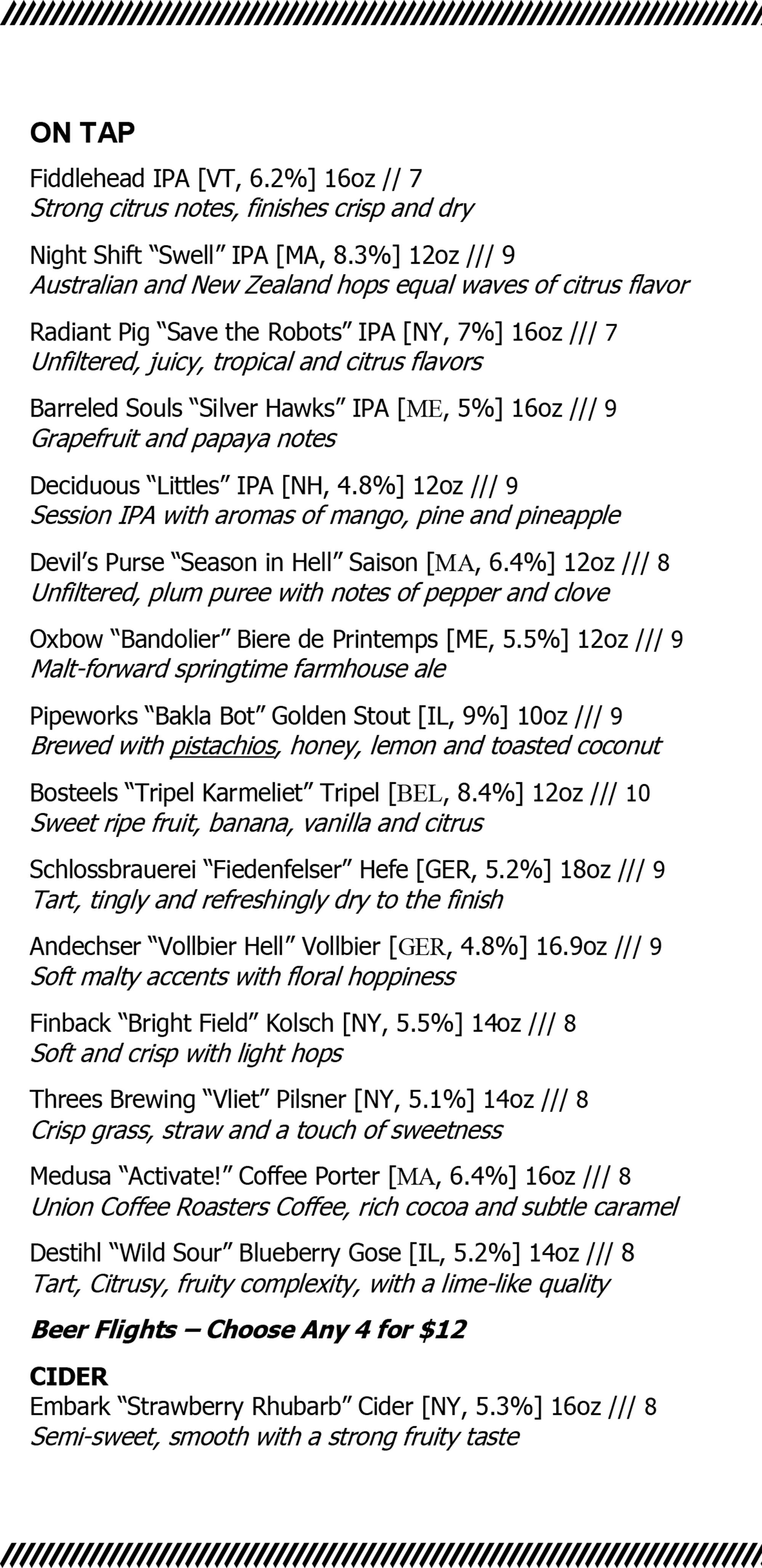 The Wellington draft beer and cider list
