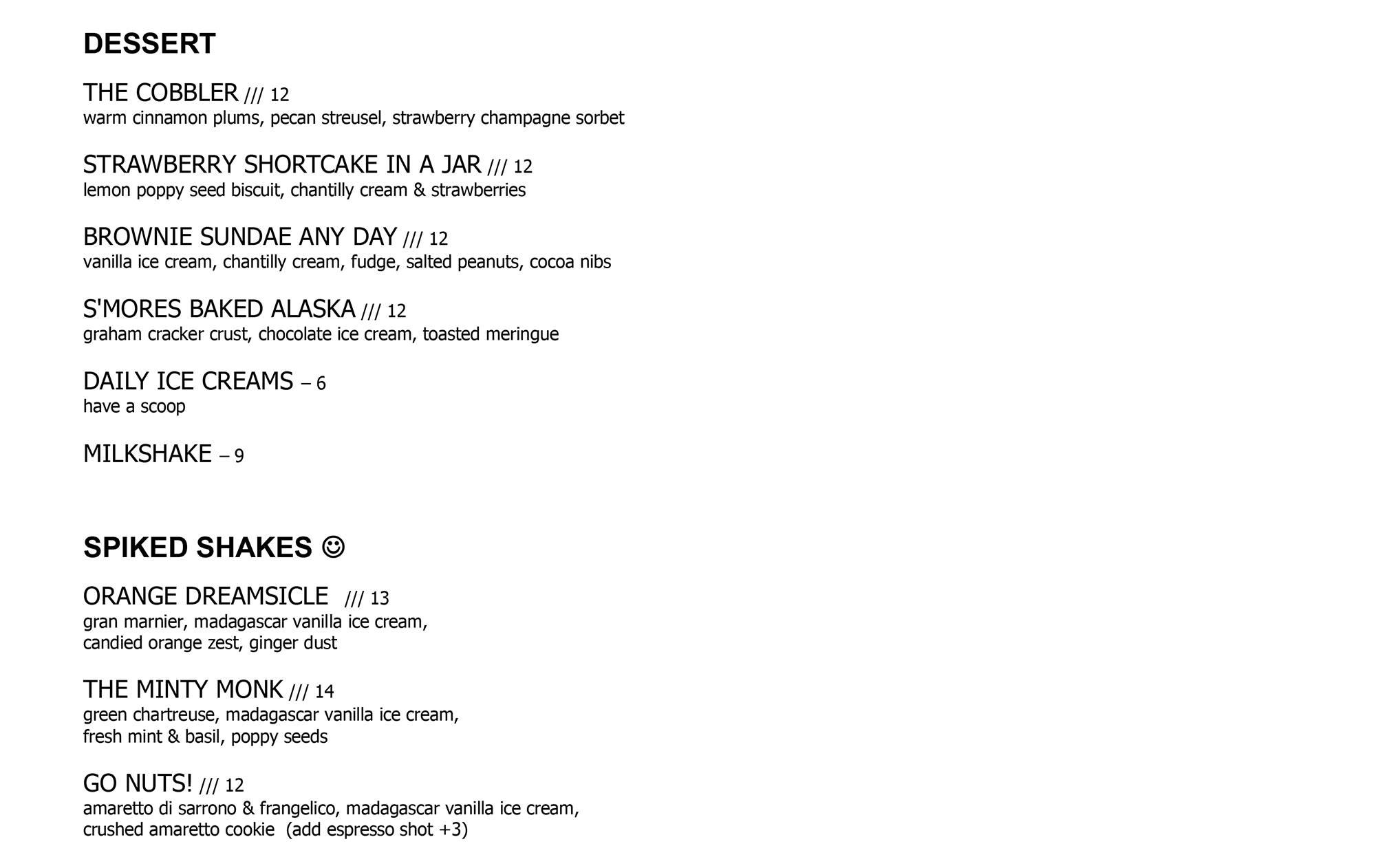 The Wellington dessert list