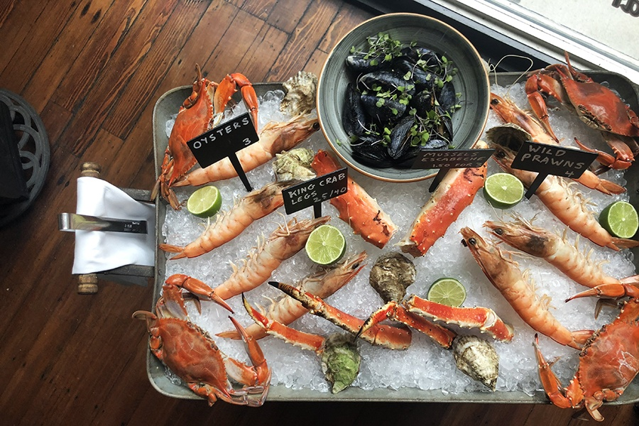 Mobile raw bar cart at Troquet on South
