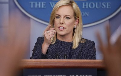 In this June 18, 2018 photo, Homeland Security Secretary Kirstjen Nielsen speak to the media during the daily briefing in the Brady Press Briefing Room of the White House. Nielsen is drafting an executive action for President Donald Trump that would direct DHS to keep families apprehended at the border together during detention. That's according to two people familiar with her thinking who spoke on condition of anonymity to discuss the effort before its official announcement. It's unclear whether the president is supportive of the measure.