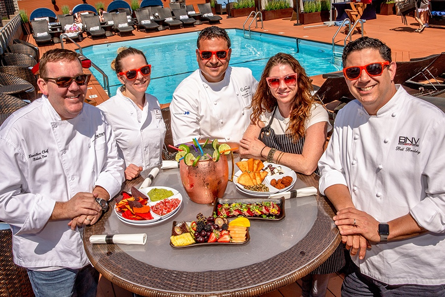 The Colonnade Hotel's Rooftop Chefs series features (L to R) Brian Poe, Carolyn Johnson, Nick Calias, Meghann Ward, and Bill Brodsky.