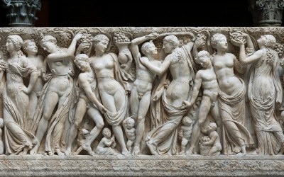 Roman, Severan, Farnese Sarcophagus with Revelers Gathering Grapes: Front, about 225 AD. Marble, 163.2 x 62.23 x 26.67 cm. Isabella Stewart Gardner Museum, Boston (S12e3)