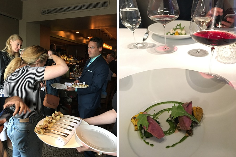 (Left) Food writers snap photos of No. 9 Park's signature prune gnocchi. (Right) Grilled duck breast at Menton.