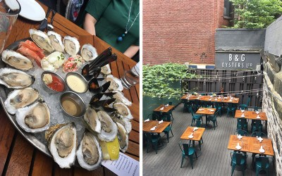 "The ""short stack"" raw bar platter and the outdoor patio at B&G Oysters"
