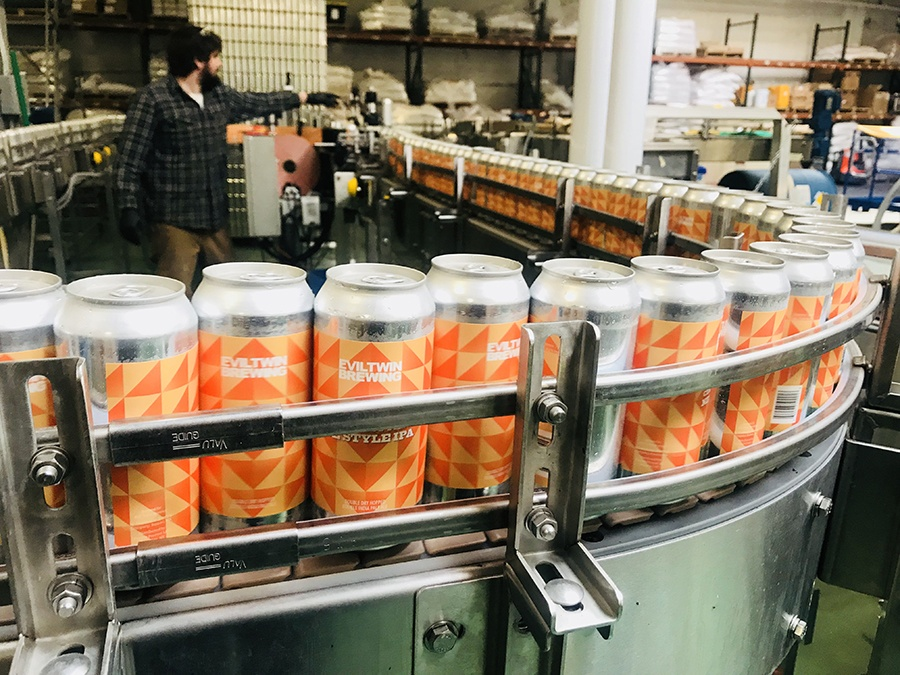 Evil Twin cans on the packaging line at Dorchester Brewing Co.