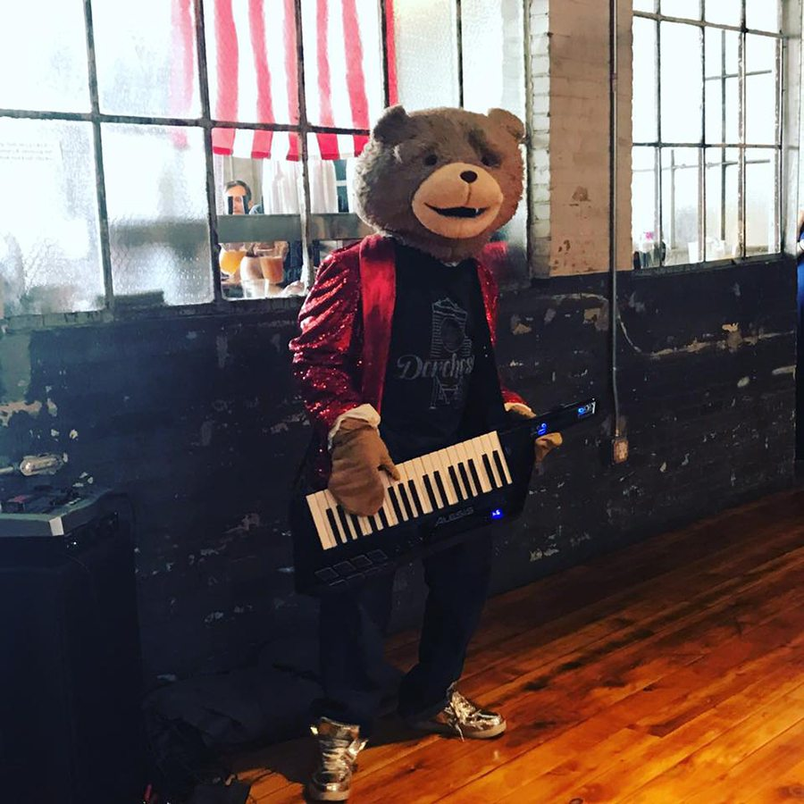 Keytar Bear rocking out at a past DBCo. party. The busker returns to the taproom Saturday, July 21, for DBCo.'s second anniversary.