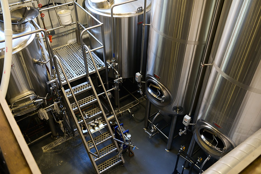 The basement brewhouse at Democracy Brewing