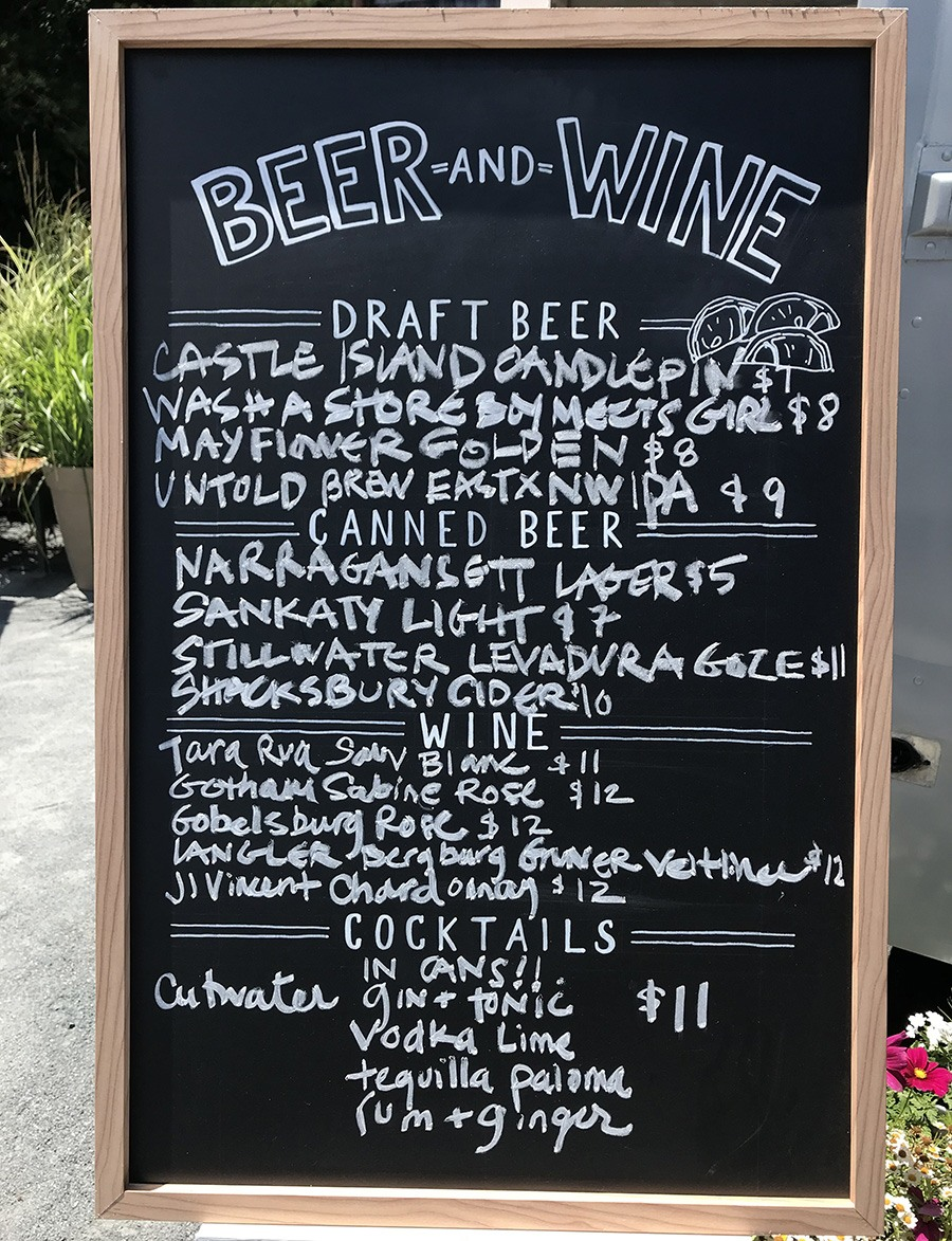 The beer, wine, and cocktail menu at the Raw Bar at Island Creek Oyster Farm