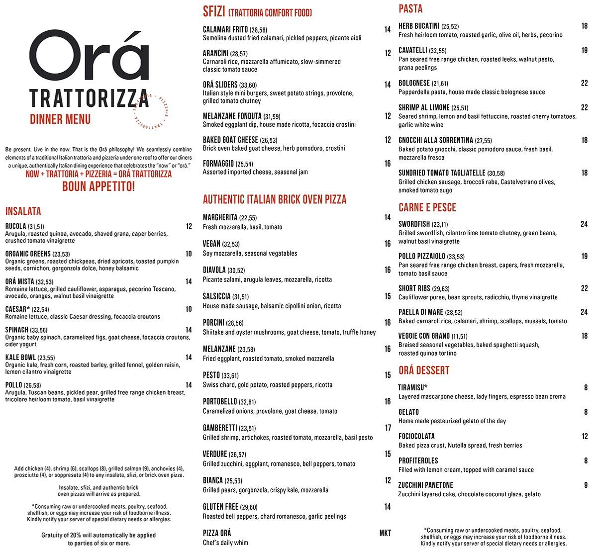 Orá Trattorizza dinner menu