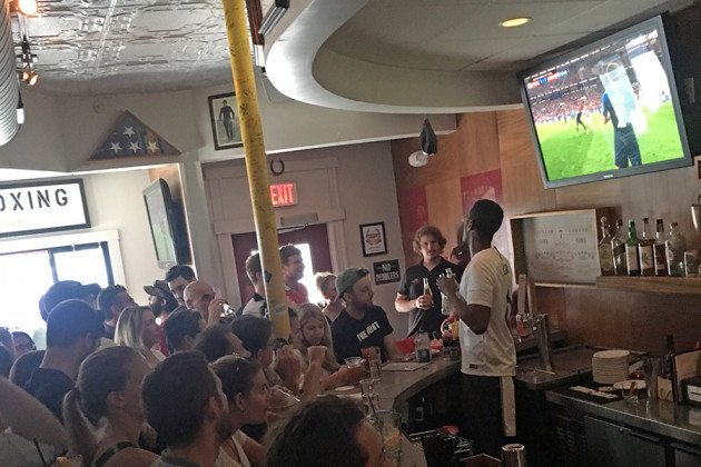 Parlor Sports was at capacity by 10:40 a.m. for the World Cup Final.