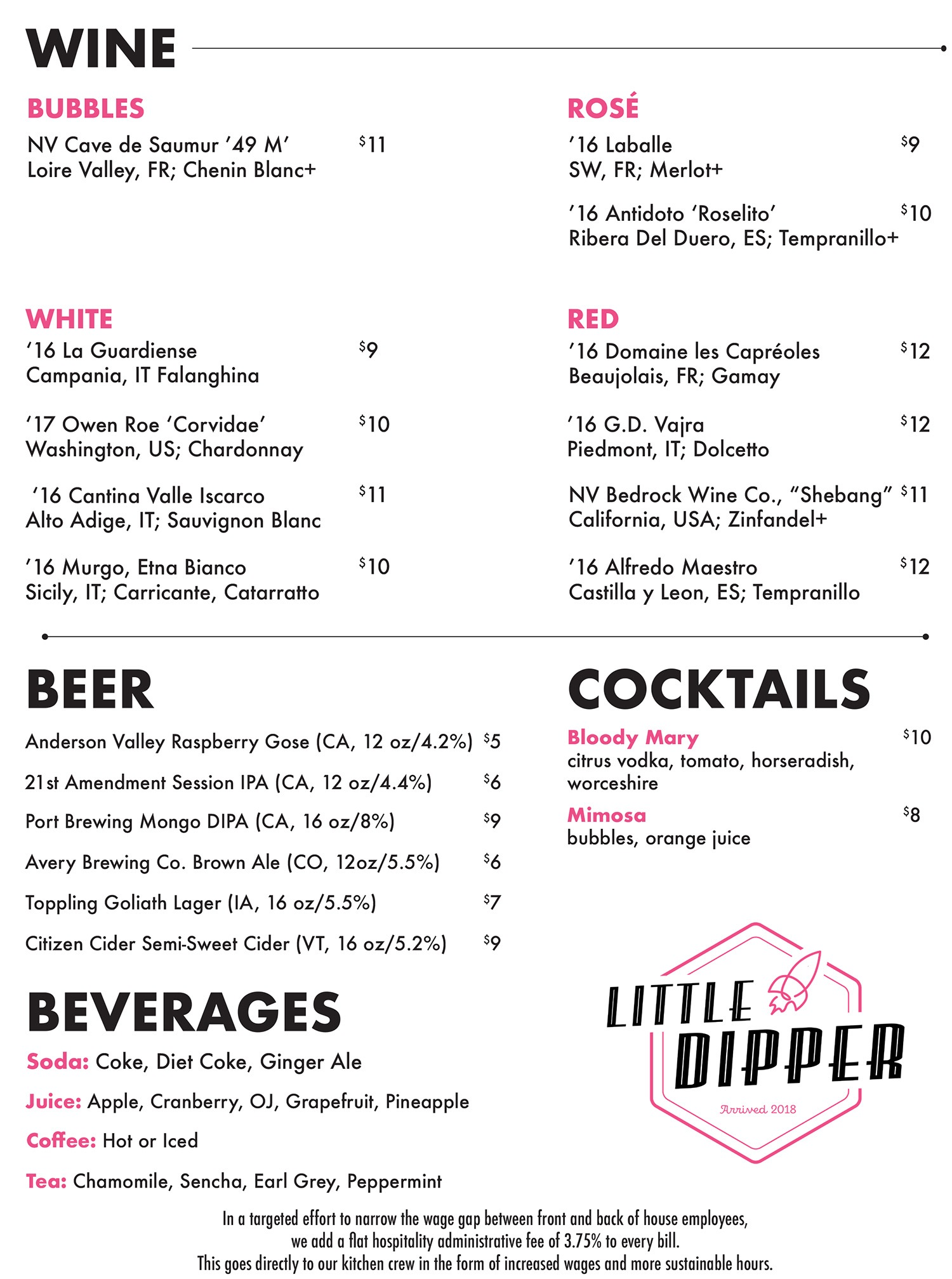 Little Dipper JP drinks menu