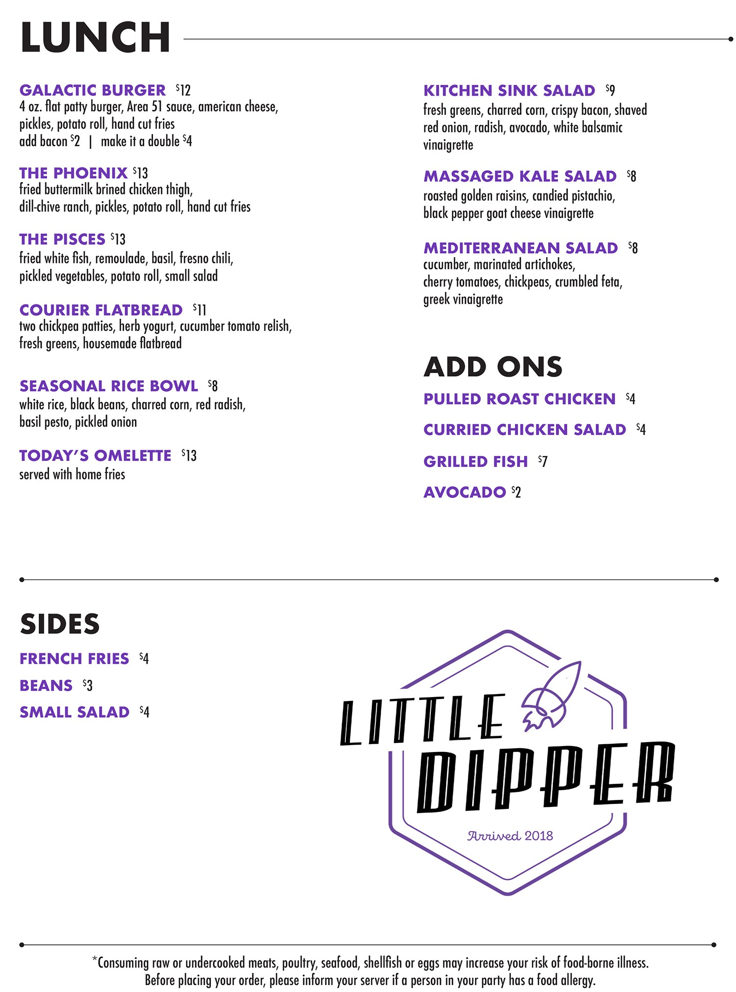 Little Dipper JP lunch menu