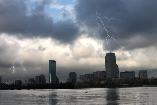 Lightning storm over Boston, Massachusetts