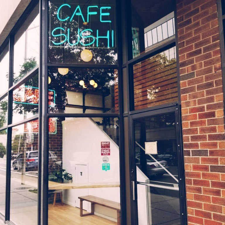 The main entrance to Cafe Sushi is now directly off Mass. Ave. in Cambridge.