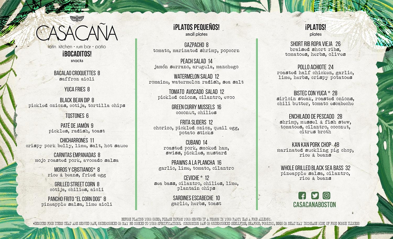 Casa Cana Allston - Dinner menu 2018