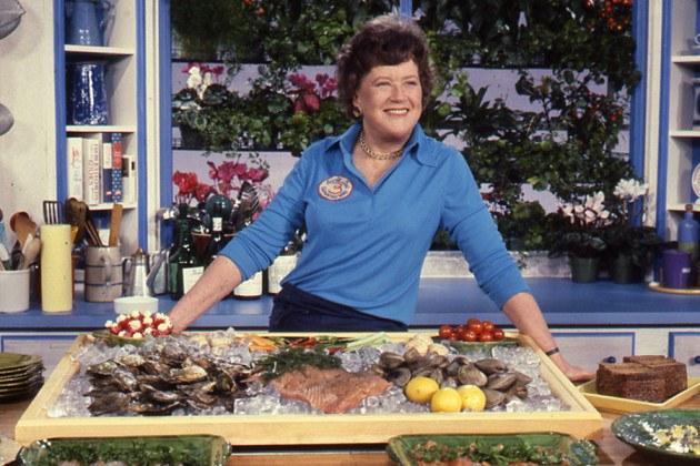 "Julia Child, with shellfish, on an episode of ""The French Chef"""