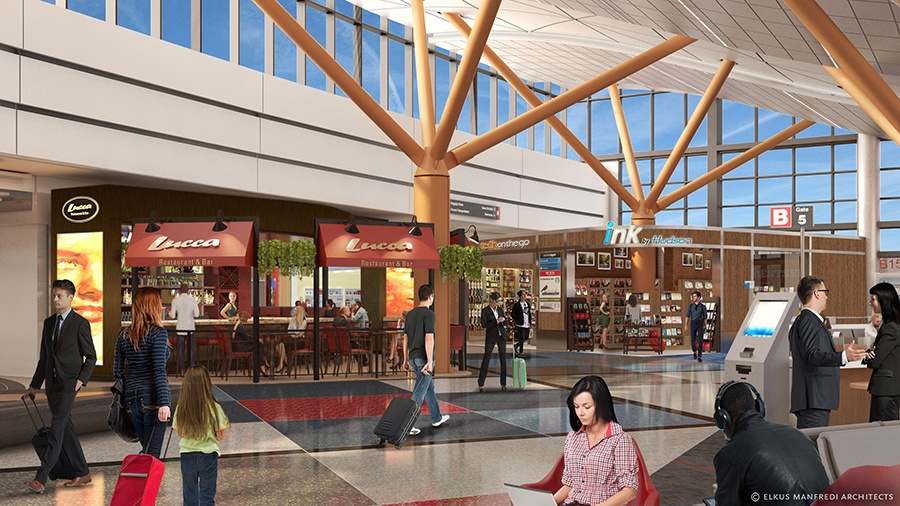 Logan Airport Lucca Restaurant and Bar rendering.