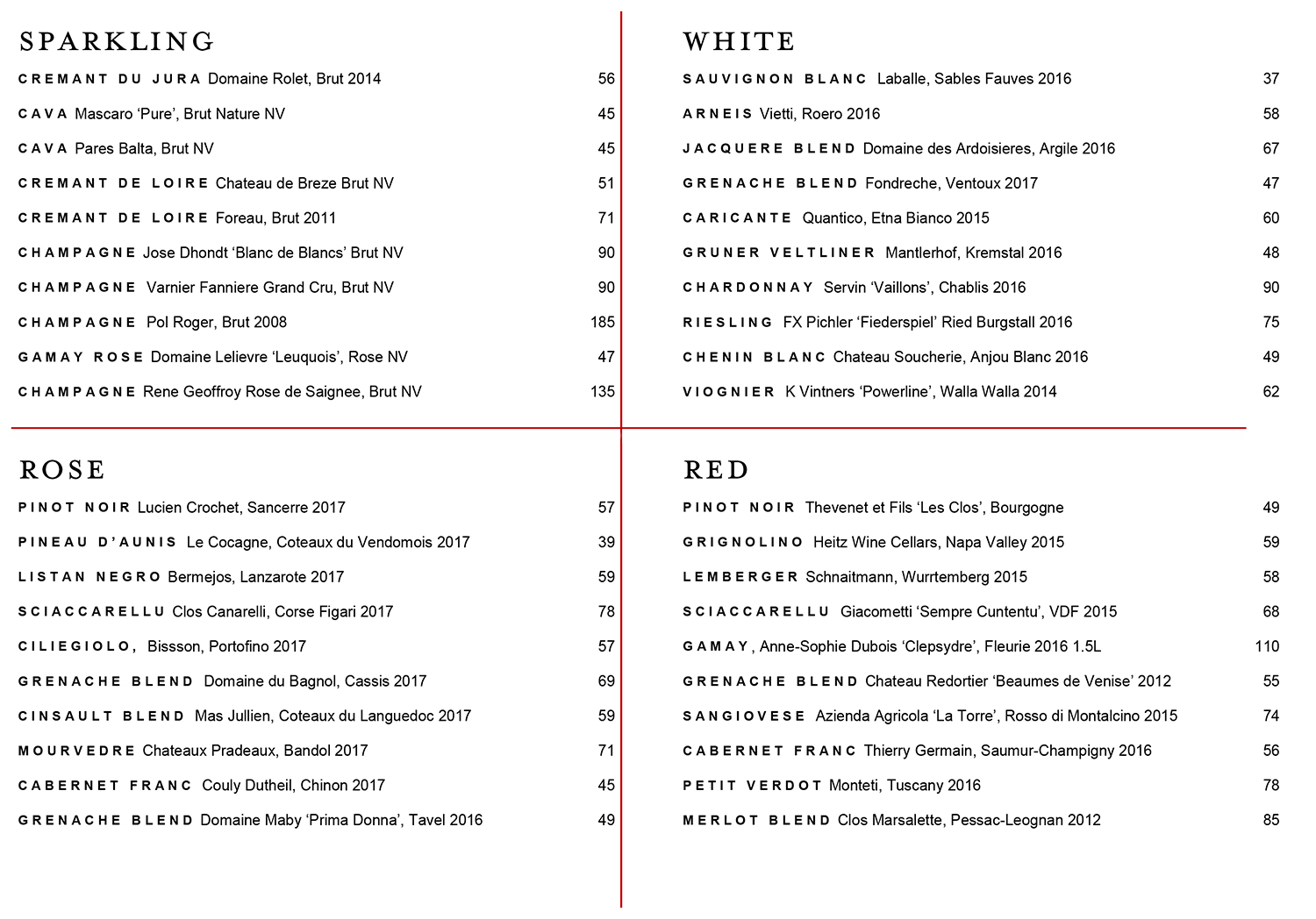 Moon Bar wine menu Aug 2018