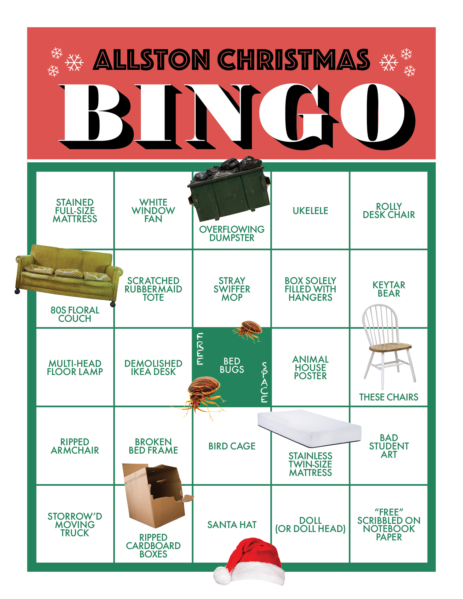 click here to print or view larger bingo card by benjamin purvis and madeline bilis images via istock - Christmas Bingo