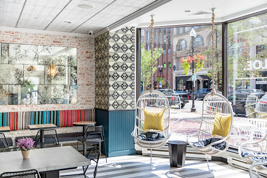 The signature swings at By Chloe's newest Boston location in Copley Square