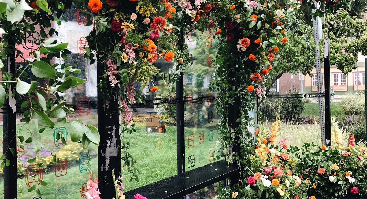"""A """"Flowerbomb"""" Spruced Up a Bus Stop in Everett This Morning"""