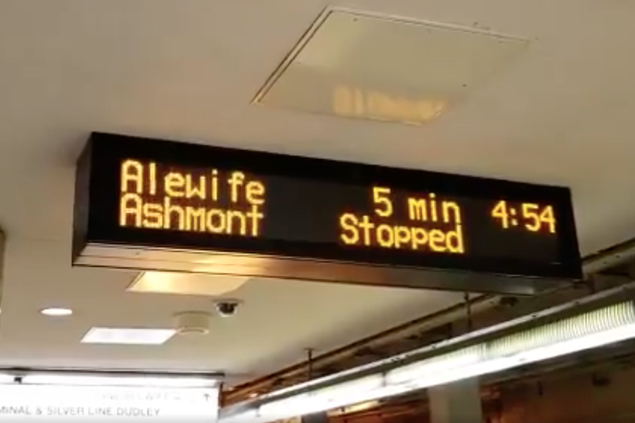 mbta display reading stopped