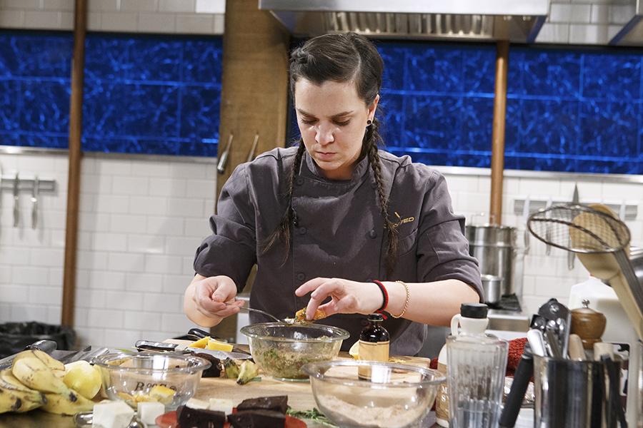 Chef Tatiana Rosana cooking on Chopped season 37