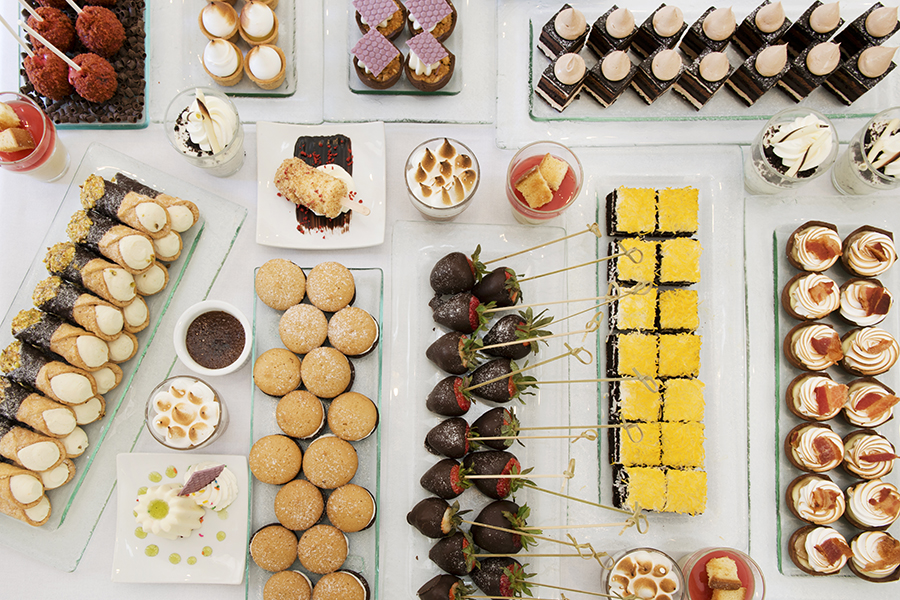 a display of desserts on he Langham Hotel's famous Saturday Chocolate Bar