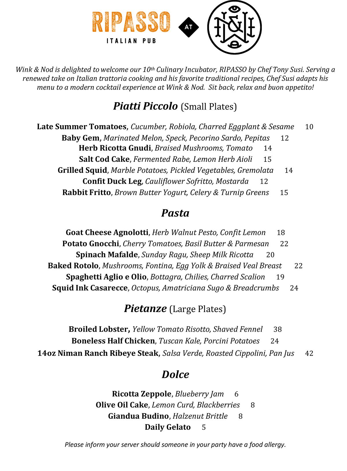 Ripasso at Wink & Nod menu