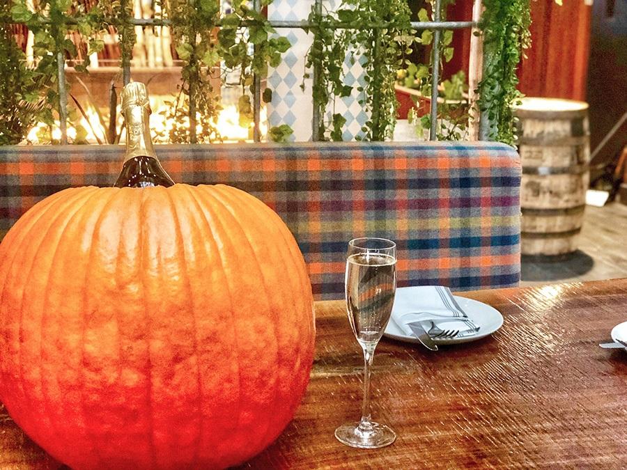 pumpkin bottle service on the Publico patio