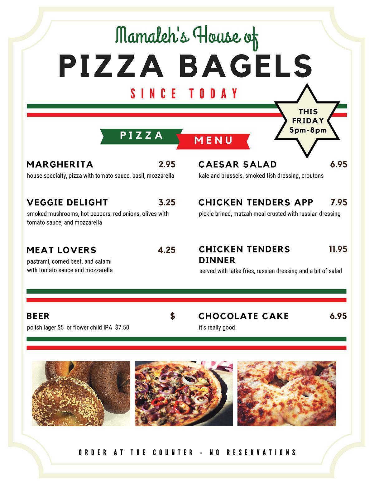 Mamaleh's House of Pizza Bagels menu