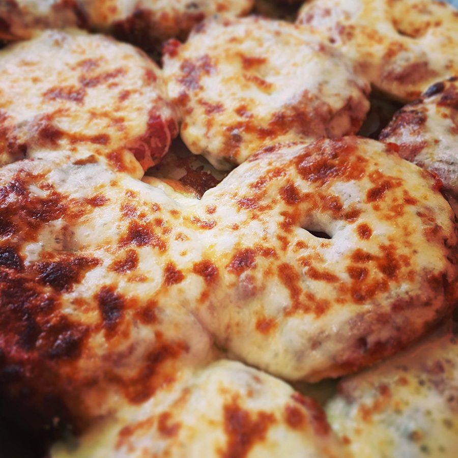 Pizza bagels at Mamaleh's.