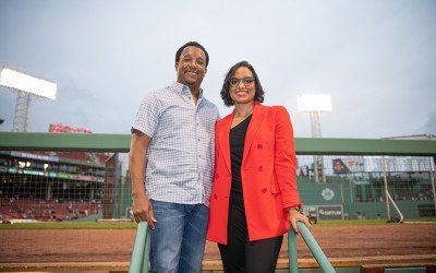 Pedro and Carolina Martinez at Fenway Park