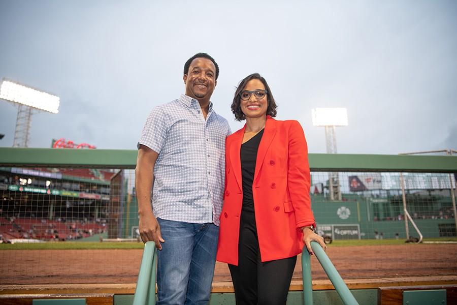 Pedro and Carolina Martinez at Fenway Park