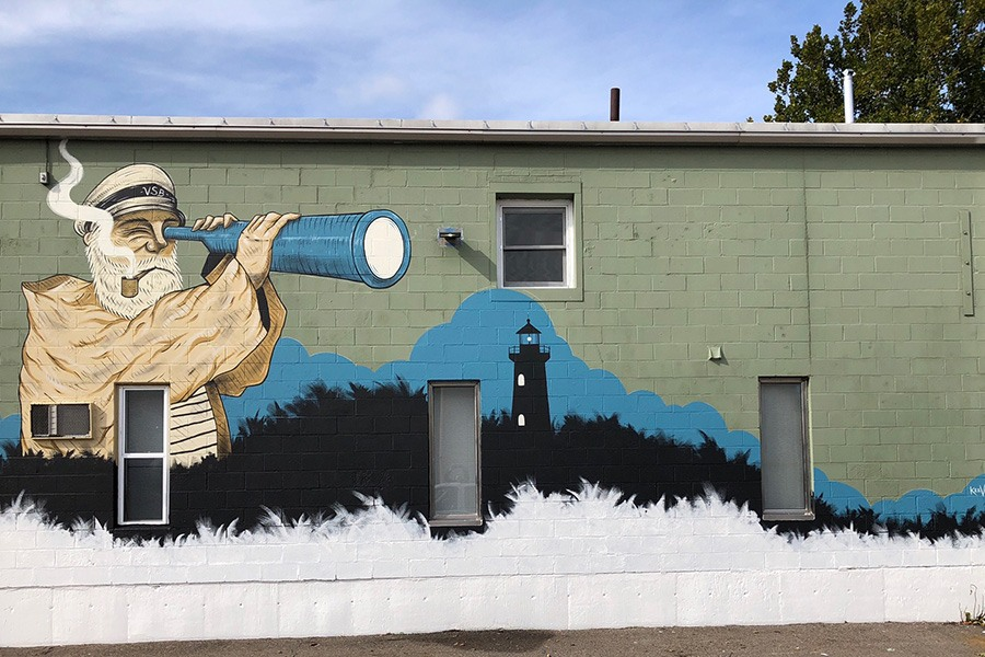Artist Dean McKeever is responsible for this cool mural outside Vitamin Sea Brewing in Weymouth