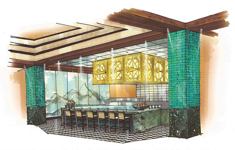 The open kitchen at Mystique.