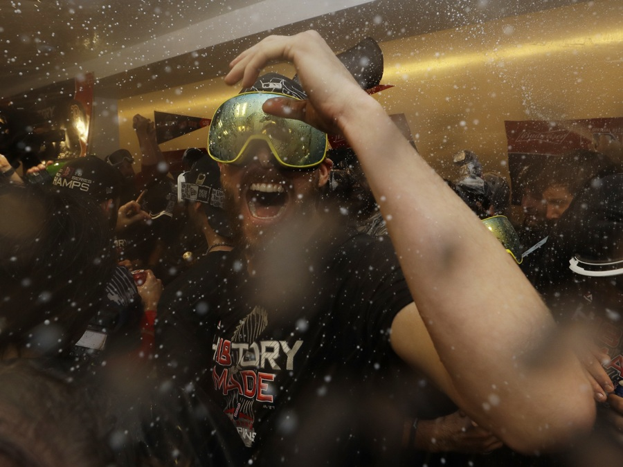 7b427103c The Boston Red Sox Chris Sale celebrates in the clubhouse after Game 5 of  baseball's World Series against the Los Angeles Dodgers on Sunday, Oct. 28,  2018, ...