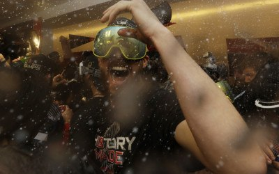 The Boston Red Sox Chris Sale celebrates in the clubhouse after Game 5 of baseball's World Series