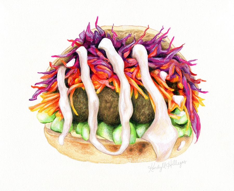 """Falafel,"" inspired by Clover chickpea fritter sandwich by Kendyll Hillegas for FEAST"